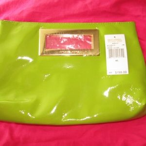 MICHAEL KORS green clutch gold hardware new